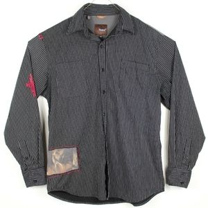 Roar Mens Black Striped Embroidered Button Shirt